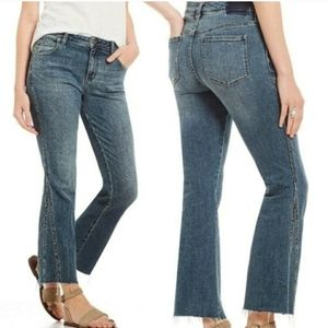 New FREE PEOPLE  Studded Novelty Flare Jeans SZ 30